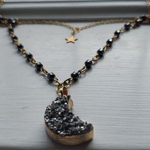 Handmade Druzy moon pendant necklace 🌜